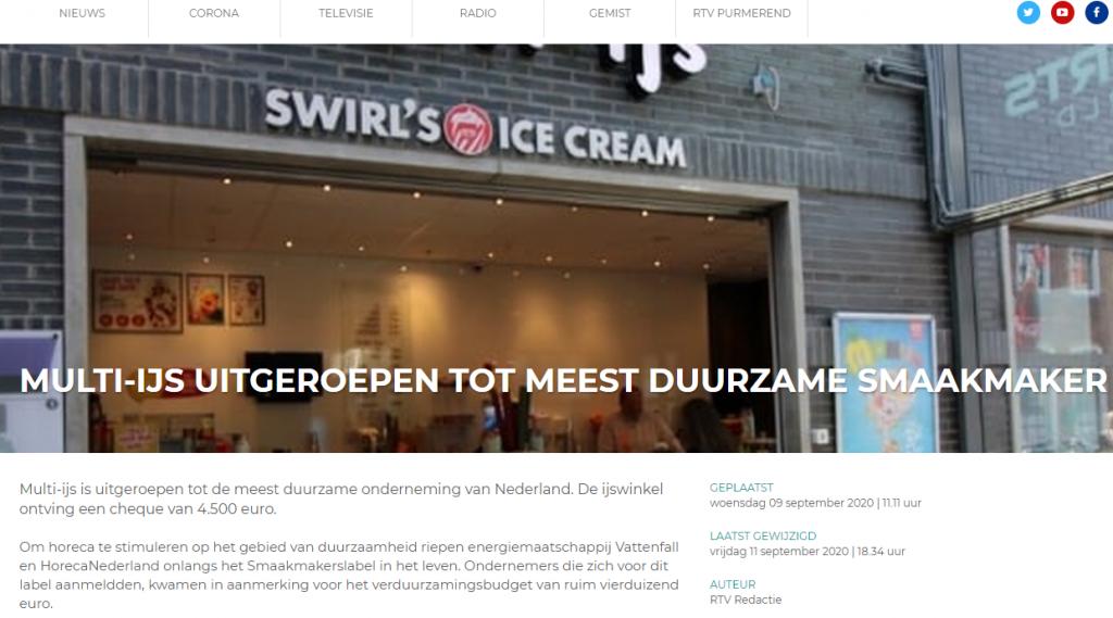 Multi-ijs Purmerend uitgeroepen tot meest duurzame Smaakmaker