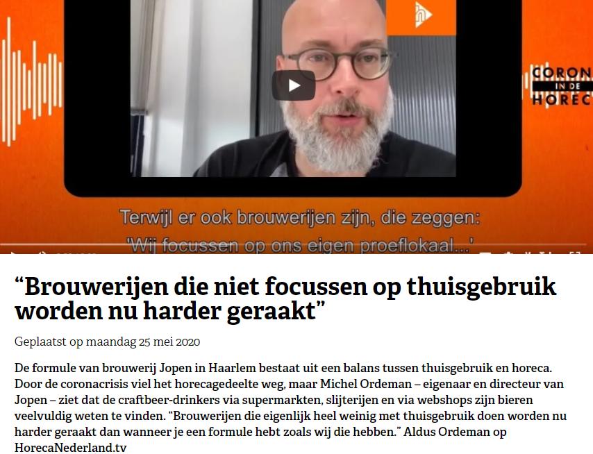 """Michel Ordeman (Jopen Bier): """"Brouwerijen die niet focussen op thuisgebruik worden nu harder geraakt"""""""